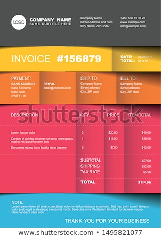 Stok fotoğraf: Modern Invoice Template Design In Pink Theme