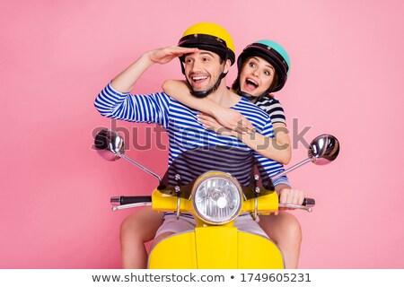 Foto stock: Masculino · amigos · olhando · motocicleta · velho