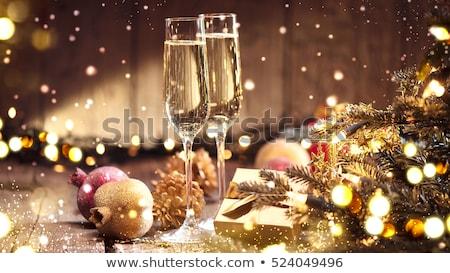 Bril champagne kerstboom partij licht drinken Stockfoto © Alex9500