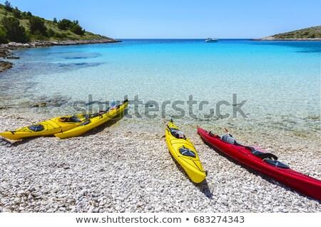 Idílico turquesa playa mar dubrovnik región Foto stock © xbrchx