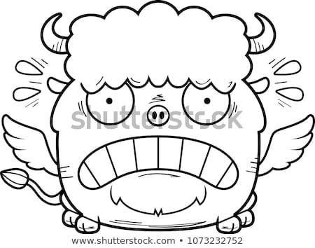怖い · 漫画 · バイソン · 実例 · 見える · 悲鳴 - ストックフォト © cthoman