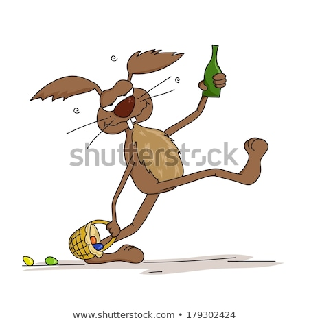 пьяный Cartoon Пасхальный заяц иллюстрация глядя Пасха Сток-фото © cthoman