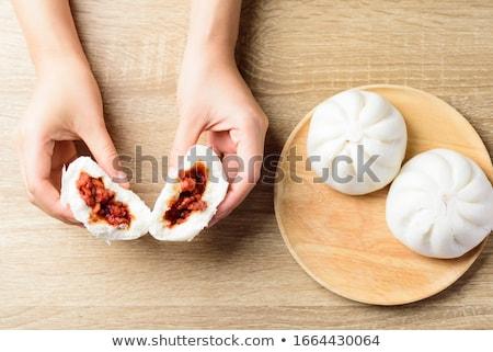 dim · sum · tányér · sötét · háttér · kenyér · hús - stock fotó © szefei
