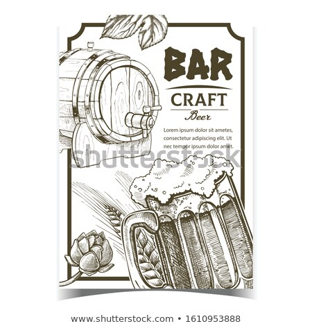 Wooden Beer Barrel Monochrome Sketch Style Poster Stock photo © robuart
