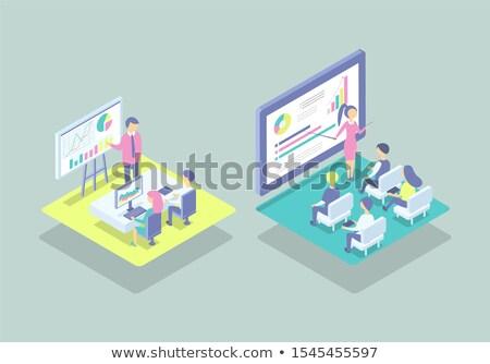 woman at blackboard present project cartoon banner stock photo © robuart