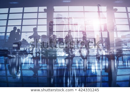 Double exposure with silhouettes of businessmen passengers in the airport. Concept of business trave Stock photo © alphaspirit