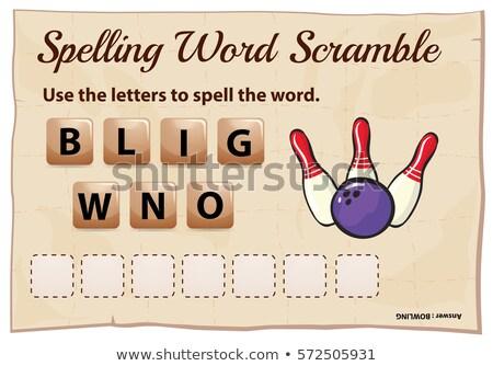 yazım · kelime · oyun · bowling · örnek · okul - stok fotoğraf © colematt