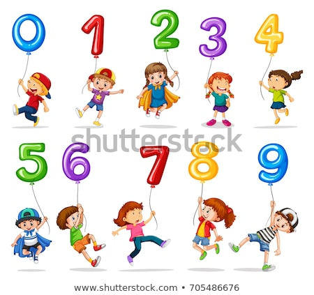 Children with numbers and balloons Stock photo © colematt