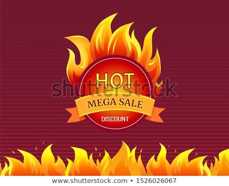 Round Mega Sale Emblem with Burning Blaze Sign Stock photo © robuart