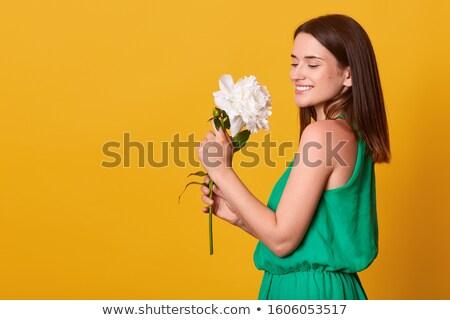 Güzel esmer kız romantik bakmak poz Stok fotoğraf © studiolucky