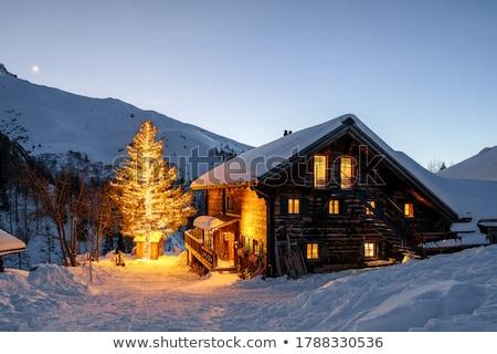 Houten hut natuur landschap illustratie boom Stockfoto © colematt