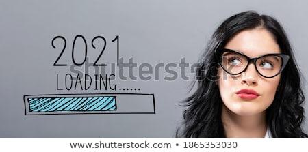 沈痛 小さな 女性実業家 立って グレー 作業 ストックフォト © deandrobot