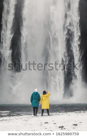 Turista cachoeira Islândia vermelho jaqueta Foto stock © Kotenko