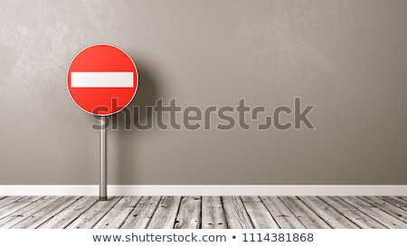 denied road sign on wooden floor stock photo © make
