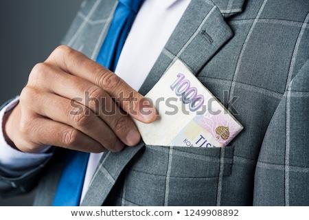 üzletember cseh bankjegyek közelkép fiatal kaukázusi Stock fotó © nito