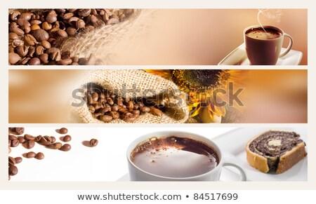 ストックフォト: セット · 水平な · バナー · コーヒー · eps · 10