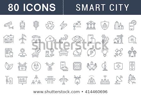 okos · ház · internet · dolgok · infografika · ikon · szett - stock fotó © frimufilms