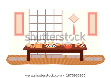 japanese design of furniture and sushi dish vector stock photo © robuart