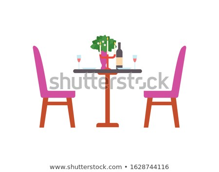 served romantic table bottle of wine chandelier stock photo © robuart