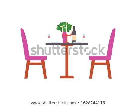 Geserveerd romantische tabel fles wijn kroonluchter Stockfoto © robuart