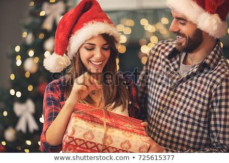 feliz · Pareja · casa · Navidad · caja · de · regalo · vacaciones - foto stock © dolgachov