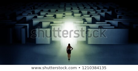 Lost woman standing at illuminated labyrinth entrance Stock photo © ra2studio