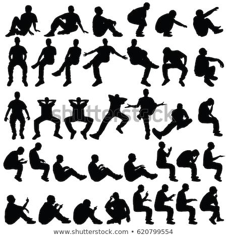 Seduta posa uomo silhouette fitness uomini Foto d'archivio © angelp
