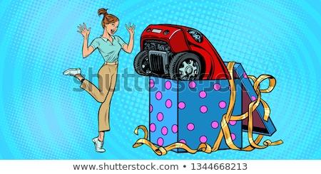 Stock fotó: Autó · álom · fedett · piros · ruha · szalag