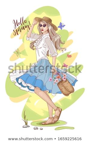 весна плакатов женщины девочек Сток-фото © robuart