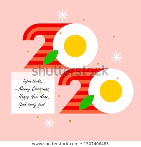 Colorful numbers 2020 look like eggs with bacon and greetings Stock photo © ussr