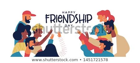 Fiatalság nap kártya boldog tini barát Stock fotó © cienpies