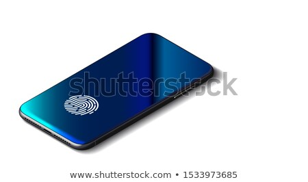 Black Smartphone With Security Fingerprint And Shadow Isolated On White Background. Stock photo © tashatuvango
