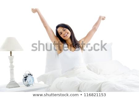 Сток-фото: женщину · вверх · кровать · портрет · маске