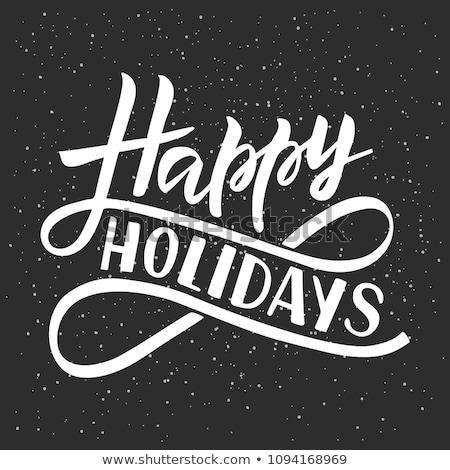 Boldog ünnepek kifejezés grunge dizájn elem poszter Stock fotó © masay256
