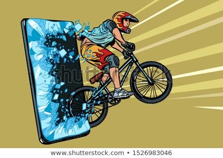 спортивных онлайн Новости спортсмена велосипедист шлема Сток-фото © studiostoks