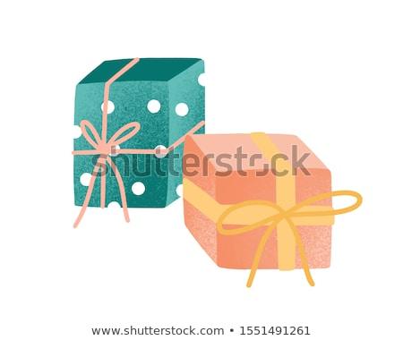 Presente ocasión especial cumpleanos navidad caja de regalo dorado Foto stock © robuart