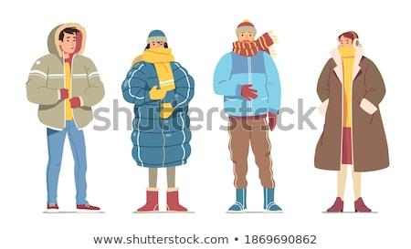 Persoon warm kleding portret vector Stockfoto © robuart