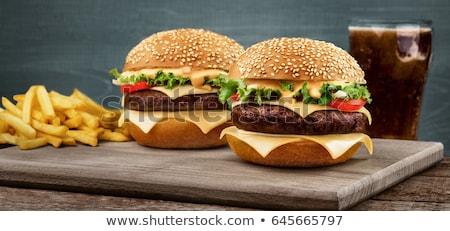 Egészséges gyorsételek hamburger zöldség smoothie saláta Stock fotó © unikpix