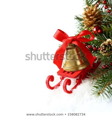 Christmas slee gouden bel witte gelukkig Stockfoto © Melnyk