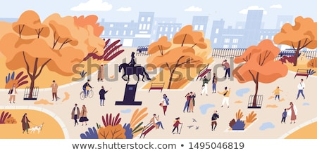 People at City, Cityscape with Citizens Vector Stock photo © robuart