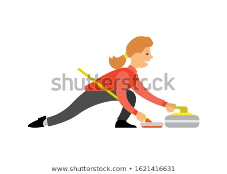 Curling English Sport, Woman with Curling-Broom Stock photo © robuart
