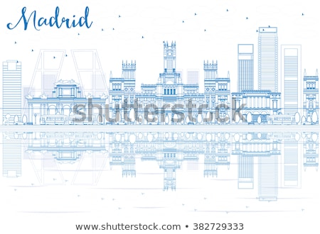 Madri linha do horizonte azul edifícios fundo Foto stock © ShustrikS