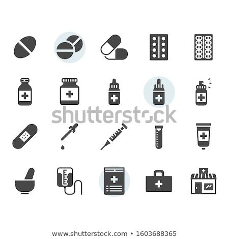 Tabletták vektor ikon izolált fehér terv Stock fotó © smoki
