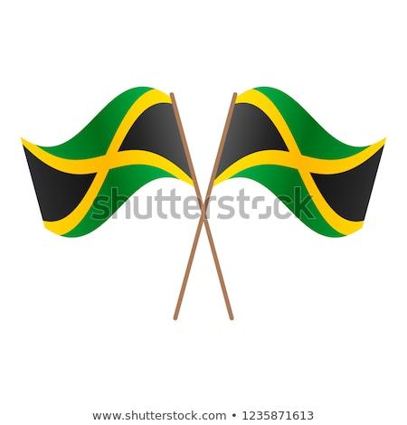 Jamaika bayrak beyaz dünya çerçeve imzalamak Stok fotoğraf © butenkow