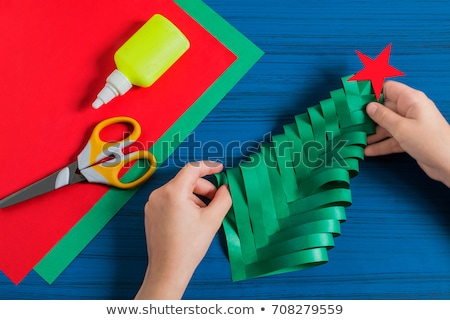 Cut and glue to create green Christmas tree Stock photo © natali_brill