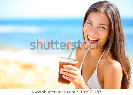 Stock photo: Happy Young Women In Bikini With Drinks On Beach