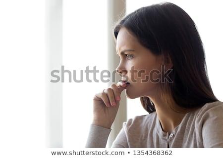 Onzeker angstig vrouw diep dacht Stockfoto © Giulio_Fornasar