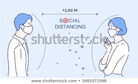 Man Docotr Mask Cartoon Keep Distance Stock photo © limbi007