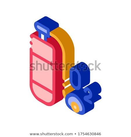 Oxigênio cilindro equipamento isométrica ícone vetor Foto stock © pikepicture