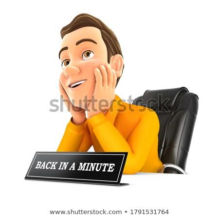 O homem 3d de volta minuto assinar ilustração isolado Foto stock © 3dmask